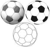 Piano di colore del pallone da calcio e pacchetto dell'inchiostro Fotografia Stock