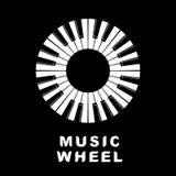 Piano di logo di musica come icona dell'occhio della ruota, stile semplice Immagini Stock