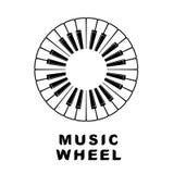 Piano di logo di musica come icona dell'occhio della ruota, stile semplice Immagine Stock