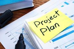 Piano di progetto e carte d'ufficio immagine stock libera da diritti