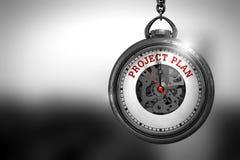 Piano di progetto sull'orologio d'annata della tasca illustrazione 3D Fotografia Stock