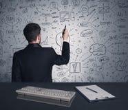 Piano di strategia di scrittura dell'uomo d'affari sulla parete Fotografia Stock