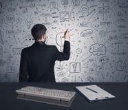 Piano di strategia di scrittura dell'uomo d'affari sulla parete Fotografia Stock Libera da Diritti