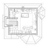 Piano di un cottage Pianta con la mobilia nella vista del disegno Immagini Stock