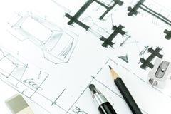 Piano domestico. Disegnando con la matita. royalty illustrazione gratis