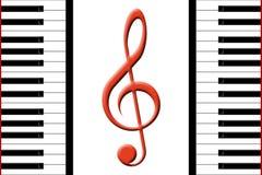 Piano e clef triplo Fotografia Stock Libera da Diritti