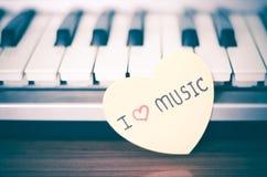 Piano e coração Imagem de Stock Royalty Free