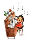 Piano e menina da aquarela Fotografia de Stock Royalty Free