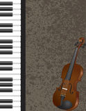 Piano e violino com ilustração do fundo Imagens de Stock Royalty Free
