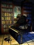 Piano en la biblioteca stock de ilustración