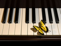 Piano en vlinder royalty-vrije illustratie