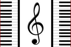 Piano et clef triple Images libres de droits