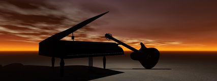 Piano et guitare Images stock