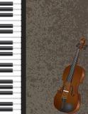 Piano et violon avec l'illustration de fond Images libres de droits