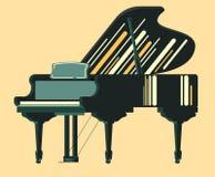 Piano för Musicial instrumentsvart stock illustrationer
