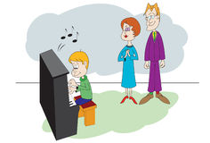 Piano family Stock Images