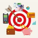 Piano finanziario di scopo dei soldi dell'obiettivo di affari Fotografia Stock