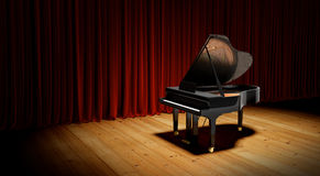 Piano on the flloor before the curtain. Stock Image