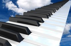 Piano  flying in the sky. Royalty Free Stock Image