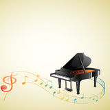 A piano with a G-clef and musical notes. Illustration of a piano with a G-clef and musical notes on a white background Stock Images