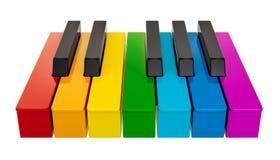 Piano gekleurd toetsenbord, één octaaf Het concept van de muziek het 3d teruggeven royalty-vrije illustratie