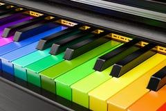 Piano gekleurd toetsenbord, muziekconcept het 3d teruggeven Stock Afbeelding