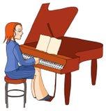 Piano girl. Musician girl playing piano, pianoforte Stock Photos