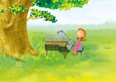 Piano girl. The girl was playing piano in a tree Royalty Free Stock Photography