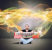 Piano and golden waves Royalty Free Stock Images