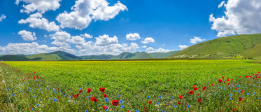 Piano Grande mountain plateau, Umbria, Italy Stock Images