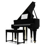 Piano grande preto Foto de Stock Royalty Free