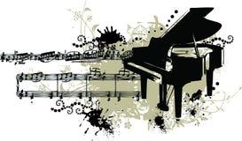 Piano grunge avec les souillures et le personnel de note Photos stock