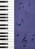 Piano Grunge Background. Illustration of Piano Keys and Musical Notes Over Textured Background Stock Photos