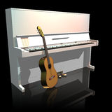 Piano and guitar. Isolated on a black background stock illustration