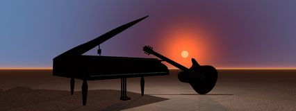 Piano and guitar Stock Photography
