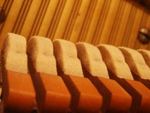 Piano hammers and strings Royalty Free Stock Images
