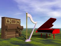 Piano and harp and sky Royalty Free Stock Image