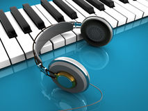 Piano and headphones Stock Photo
