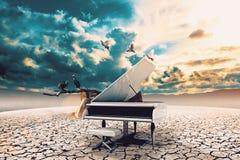 Piano In Nature Stock Photo