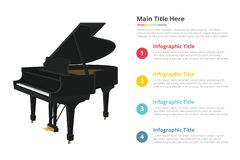 Piano infographic template with 4 points of free space text description - vector illustration vector illustration