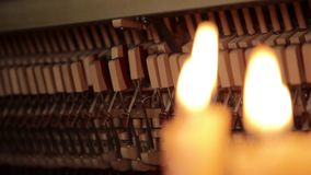 Piano inside, Internal structure of piano, hammers and keys. stock video footage