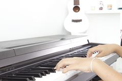 Piano. Instrument that creates melodic sound Stock Photos