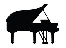 Piano instrument in silhouette Royalty Free Stock Images