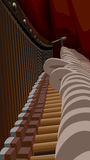 Piano interiors with strings and hammers. Stock Photos