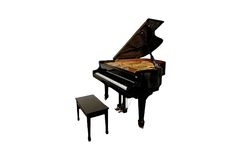 Piano isolated. A picture of a piano and bench isolated Royalty Free Stock Photography