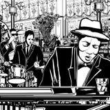 Piano-jazz band in een restaurant Stock Afbeeldingen