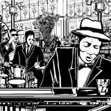 Piano-Jazz band in a restaurant royalty free illustration
