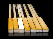 Piano jazz music festival. Old and damaged grunge piano keys Royalty Free Stock Images