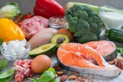 Piano ketogenic basso del pasto di dieta del carburatore cheto dell'alimento sano di cibo Fotografia Stock