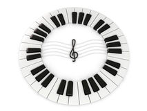 Piano key. Circle 3d isolated on white Stock Photos